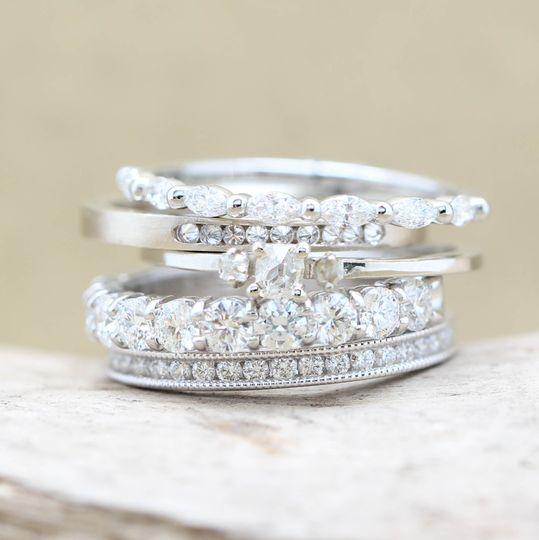 White Diamond Ring Stack