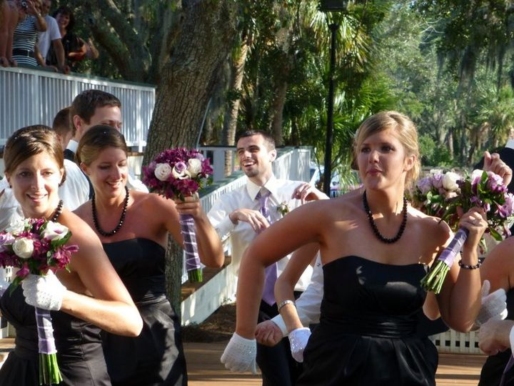 The Bridal party came in dancing!  Don Scott announced each of the names and played upbeat music...