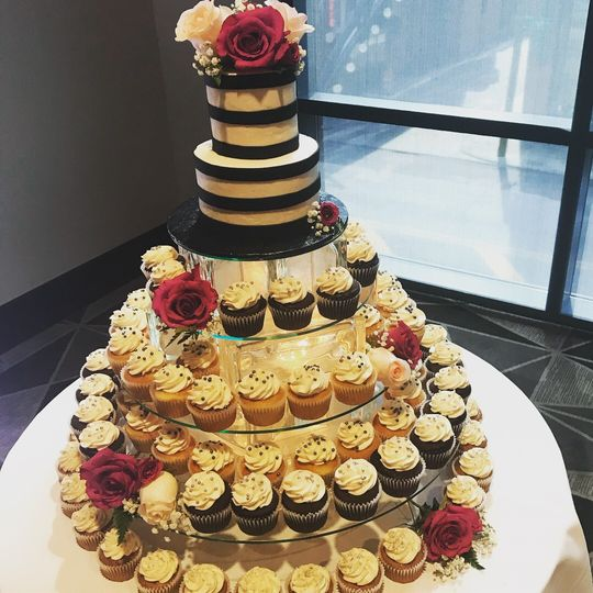 Mini tiered with cupcakes