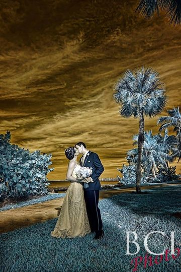 An infrared wedding portrait taken following their ceremony in Florida