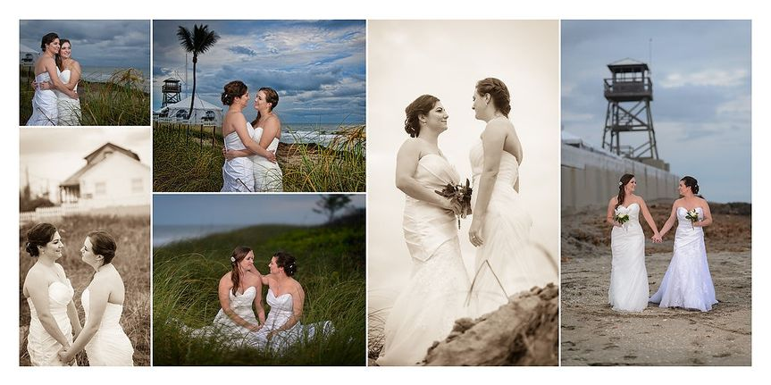 Two Brides are better than one!  Here our ladies embrace during their romantic wedding portraits...
