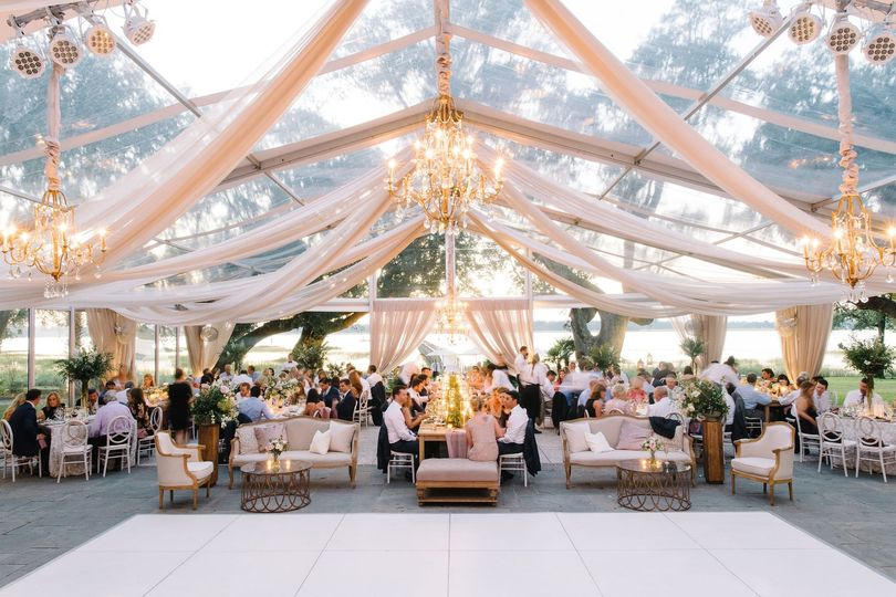 Clear top tented reception