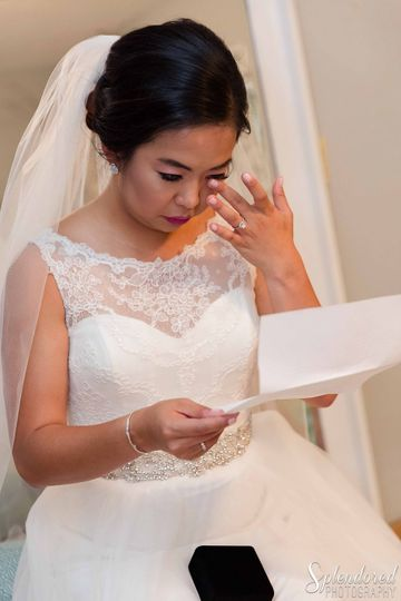 The bride in tears