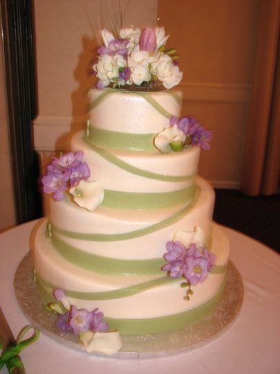 Green bands on cake