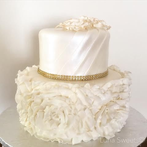 Tmx 1448088455860 Ruffles Rosettes Wedding Cake Lynn, Massachusetts wedding cake