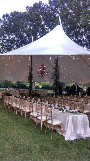 Marquee wedding reception setup