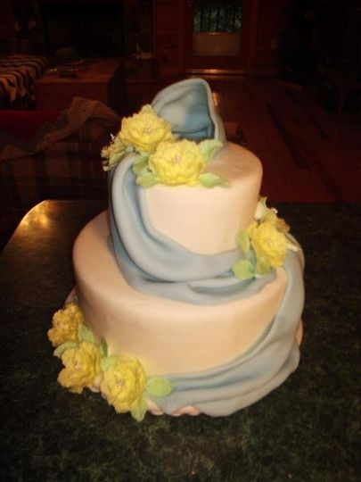 Ribbons and Posies- Iced in buttercream and covered with fondant. Ribbon sash is fondant and the...