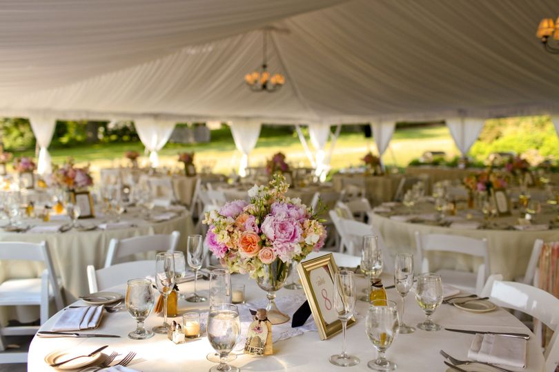 White wedding reception setup