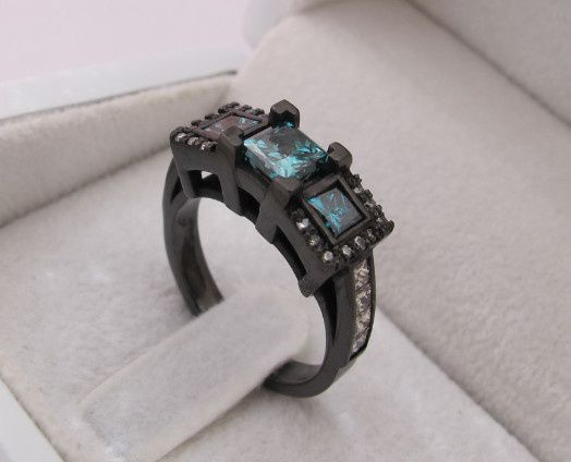 Tmx 1428943627863 Bluediamondsblackgoldengagementring Beverly Hills, CA wedding jewelry