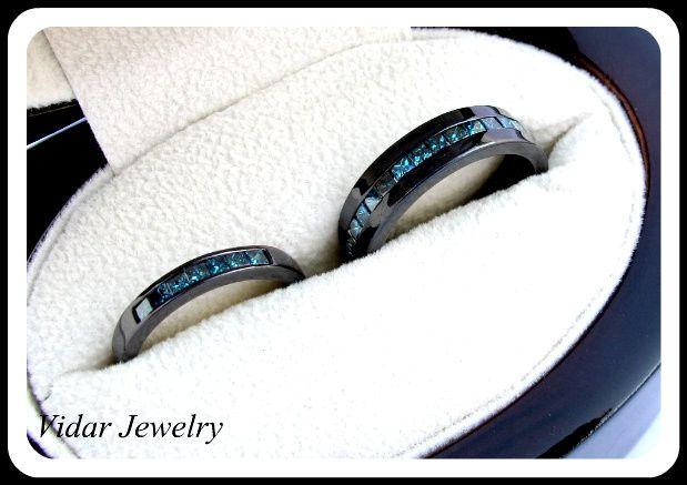 Tmx 1428943860225 Blackgoldbluediamondsmatchingweddingbandset Beverly Hills, CA wedding jewelry