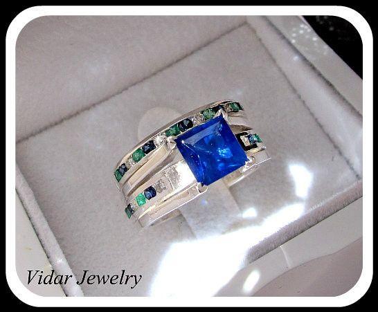 Tmx 1428944042621 Bluediamondweddingringset Beverly Hills, CA wedding jewelry