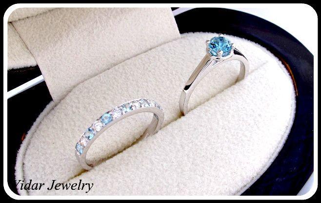 Tmx 1428944048749 Aquamarineanddiamondsweddingringset Beverly Hills, CA wedding jewelry