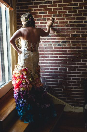 Bride pose by the door