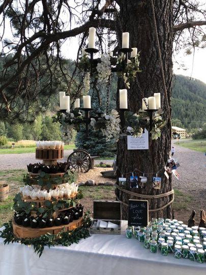 Sweets under antique chandelie