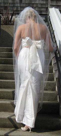 "silk dupioni ""Alexis"" gown shown with custom veil 65"" long"