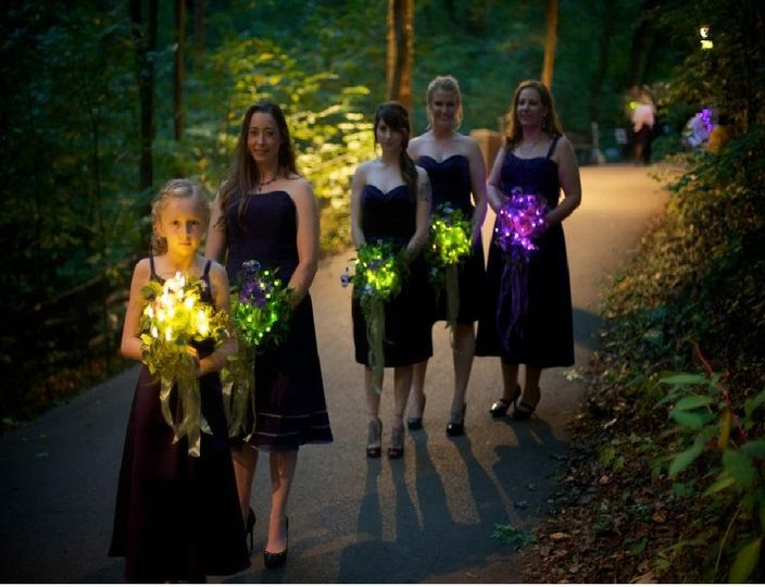 Bridesmaids holding a bouquet