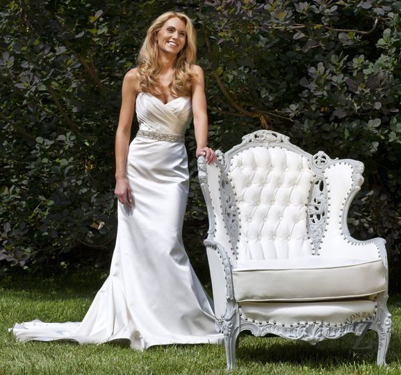 Bride by her armchair