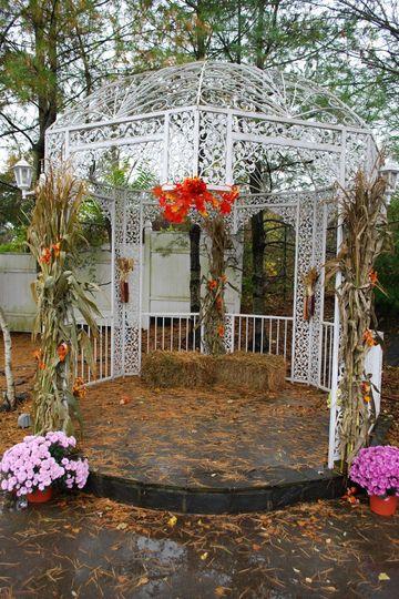 Gazebo with fall decor
