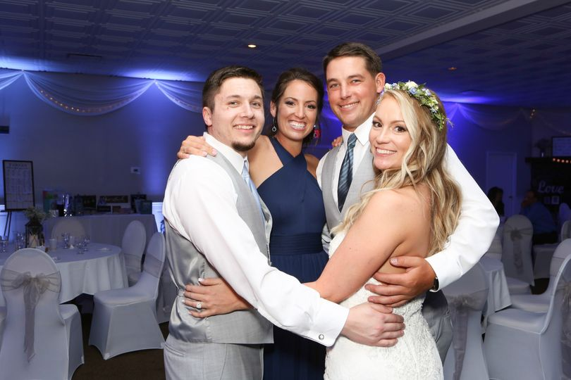 Newlyweds in the ballroom
