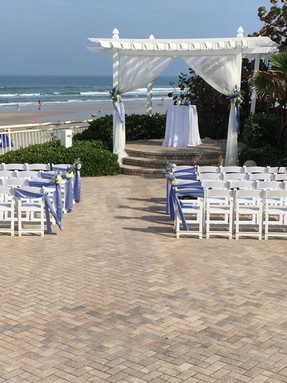 Beachfront wedding setup
