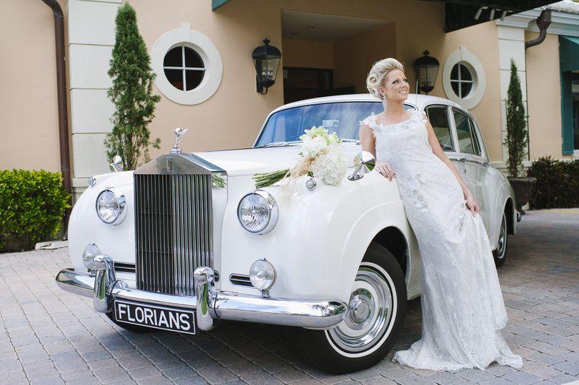 White vintage bridal car