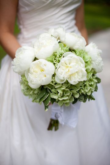 White peony bouquet with antique green hydrangea