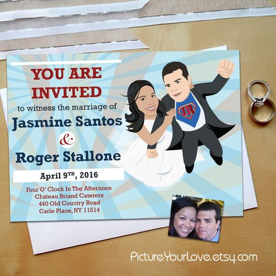 Picture Your Love specializes in wedding cartoon portraits!  These Superhero Wedding Invitations are...
