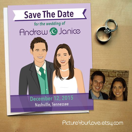 Picture Your Love specializes in wedding cartoon portraits!  This fun wedding save the date design...