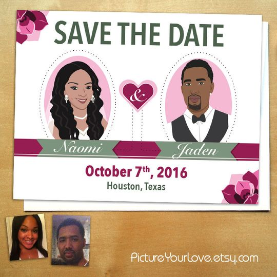 These unique save the dates include a cute custom portrait of each couple. Colors are also...