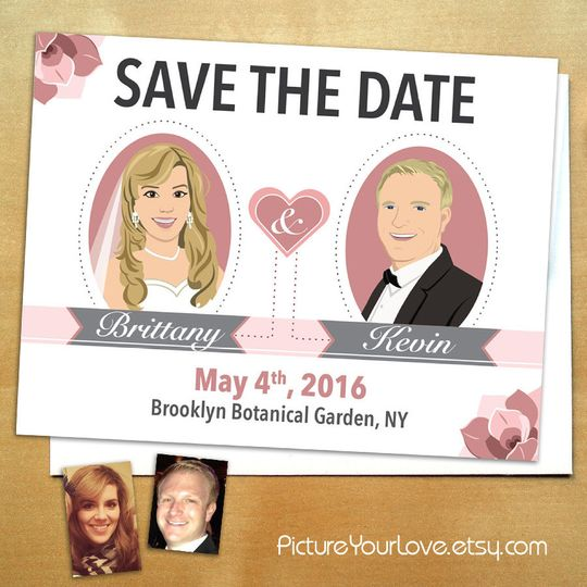 Picture Your Love specializes in cute custom cartoon portraits. These floral save the dates come in...