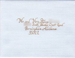 Guest address Blue linen envelope with gold ink.  Chancery Italic hand No flourishing