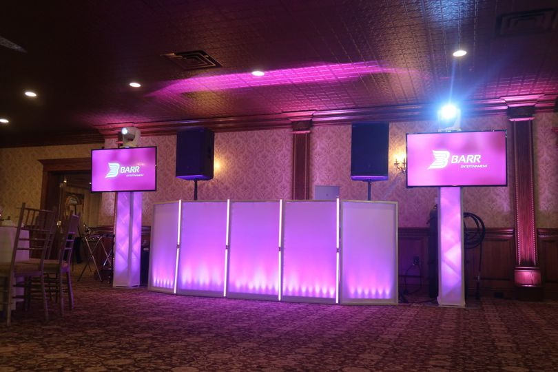 DJ booth and LCD screens