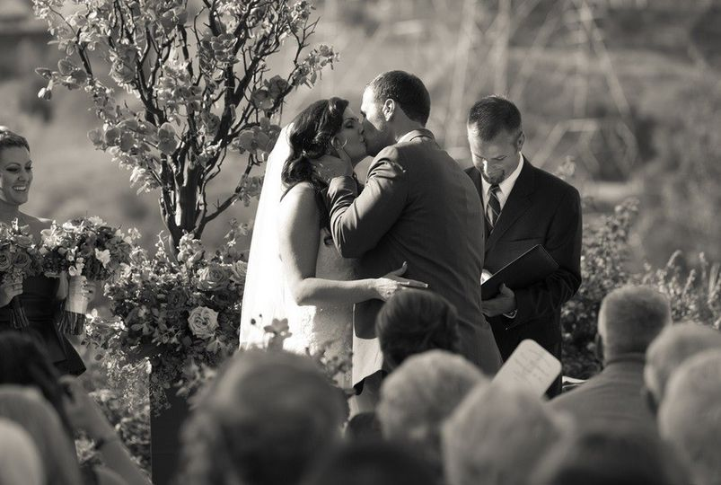 Couple wedding kiss