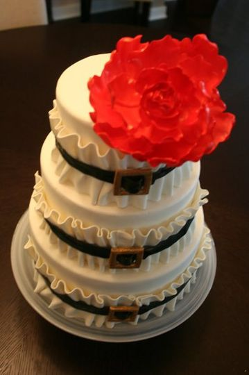 Ruffle and Red Peony Wedding Cake