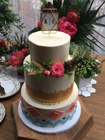3-tier cake with designed tiers