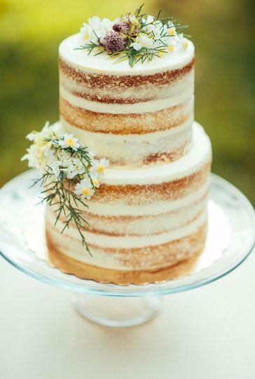 2-tier naked wedding cake