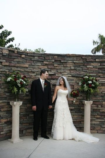 Hope Wedding: Bouquet, Boutonniere, Altar Arrangements Flowers used: Black Magic roses, Green...