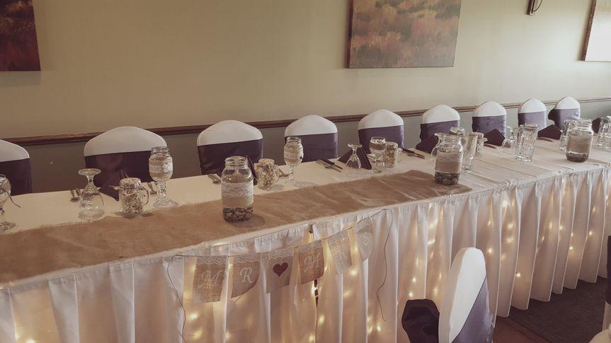 Head table setup and decor