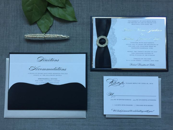 Black Back Pocket Wedding Invitation:  Black and silver with Lace Design and Crystal Buckle...