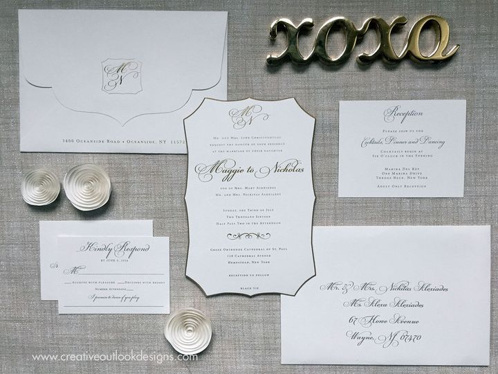 Die cut Wedding Invitation Suite with Gold Painted Bevel Edging.