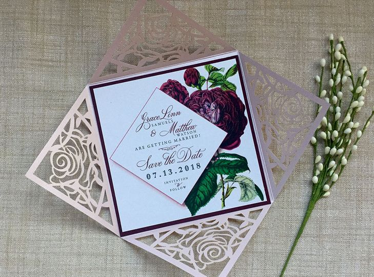 Blush Lasercut with Marsala Bloom Save the Date.