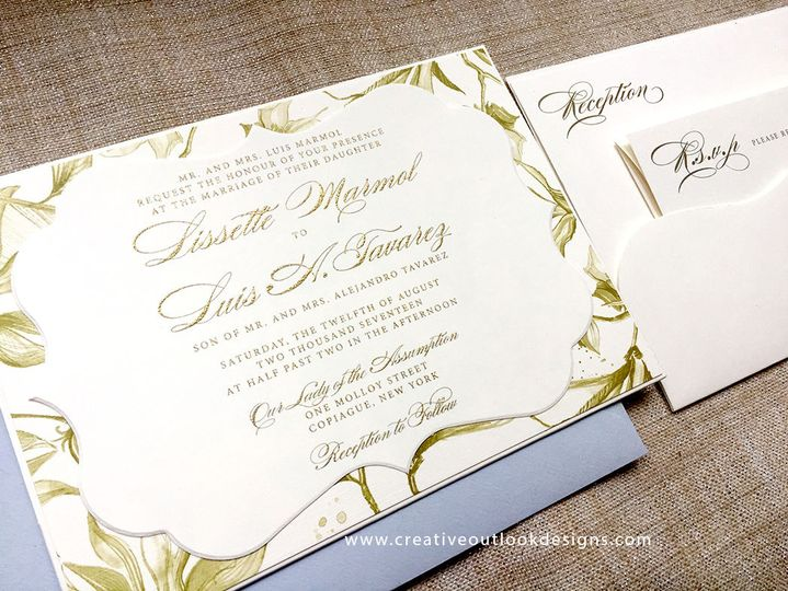 Greenery Wedding Invitation Suite with Gold Thermography.