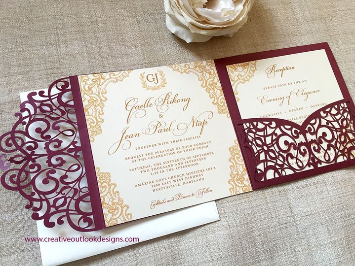 Wine Laser cut Wedding Invitation Pocket with Gold Lace Design