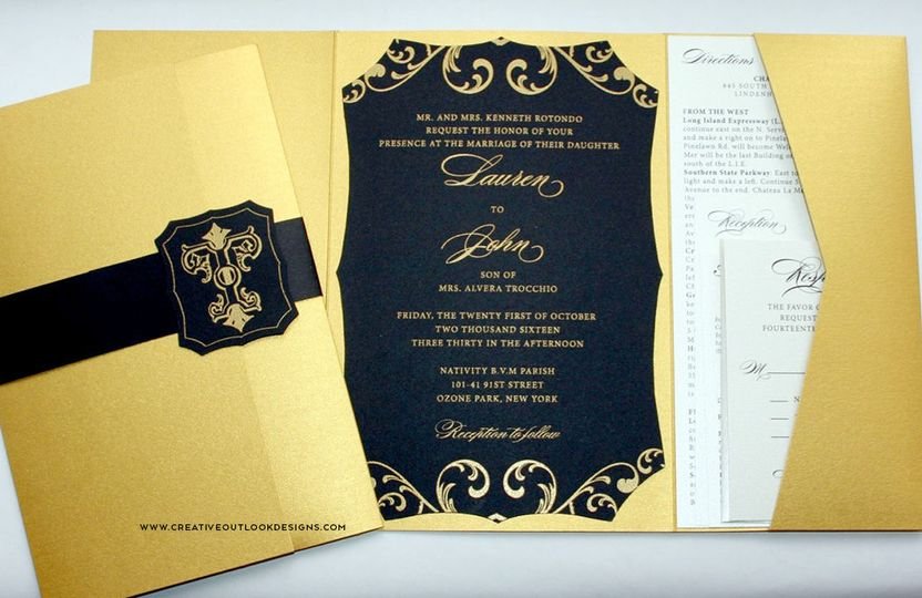 Black and Gold Die cut Pocket Invitation with Custom Monogram and Gold Thermography.