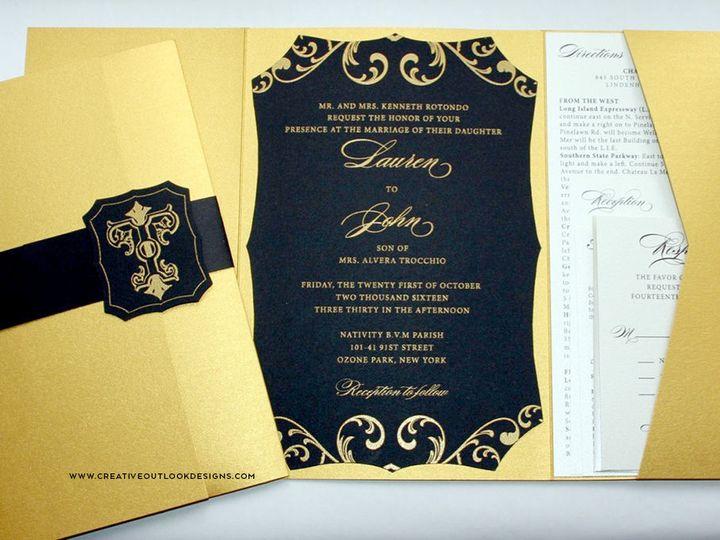 Tmx 1516036053 0187ba7f1b33988b 1516036052 E30bb63135bd5a51 1516036096500 6 Gold Black Diecut  Baldwin wedding invitation