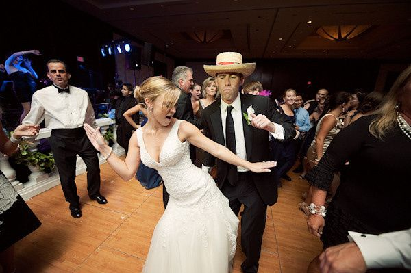 fun wedding dancing couple