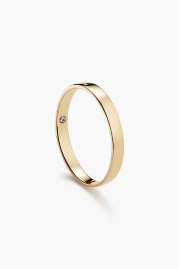 3mm classic flat (with optional birthstone) in yellow gold