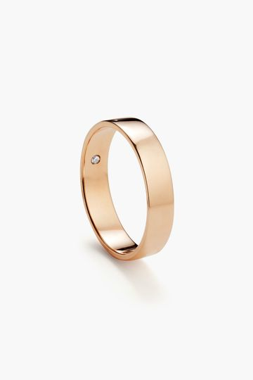 4mm classic flat (with optional birthstone) in rose gold