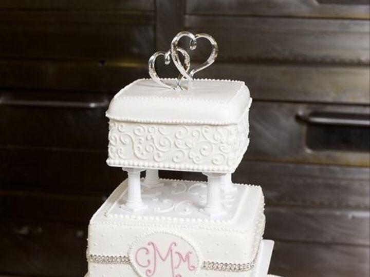 Tmx 1375057570486 Square White With Rhinestones Newark, Delaware wedding cake