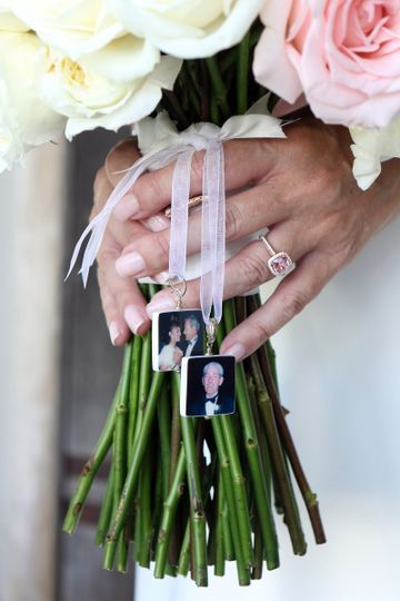 """Two sided photo tiles. Wedding bouquet jewelry.  Medium 1"""" Bridal Bouquet memorial charms"""